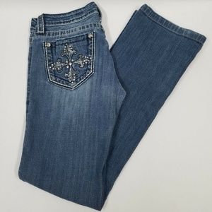 MISS ME Boot Cut Jeans JP5342B Bling Sz 28